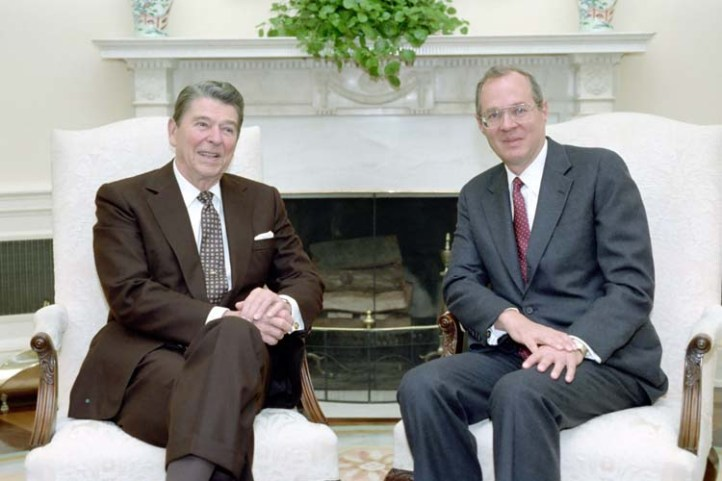 Anthony Kennedy and Ronald Reagan, shortly after the latter appointed the former.