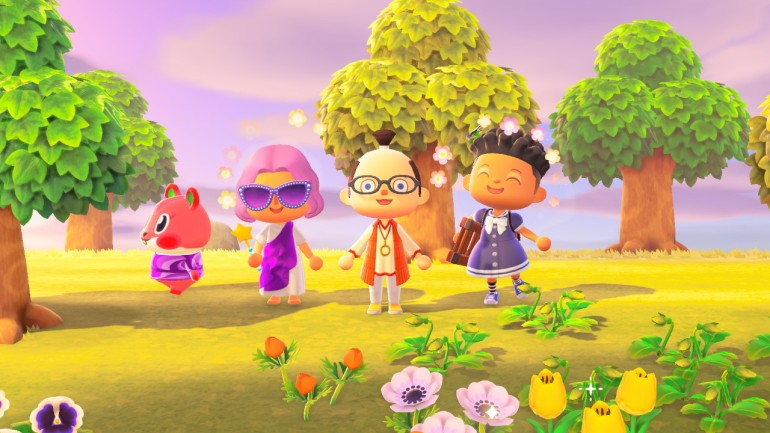 A scene from Animal Crossing: New Horizons. From left to right: Apple the pop star squirrel, Lauren in a toga and movie star sunglasses, Drew in a samurai wig and a groovy tunic, and DM Jazz Hands (of The Last Refuge) in a dress.
