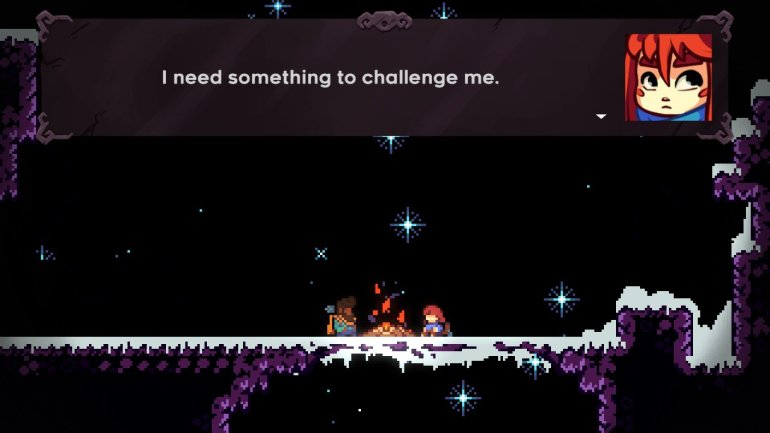 An image from Celeste: Madeline, at a campfire with Theo, saying that she needs something to challenge her.