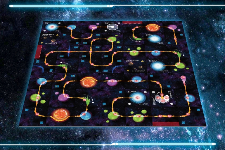 The board in Space Chase, more or less fully assembled, a line forming the players' path away from the Hunter.