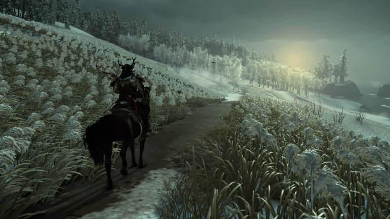 Jin sits on his horse, in my game a dappled one named Sora, looking down a snowy road toward a hazy sun, iced-over plants and flowers to either side, iced-over trees ahead.