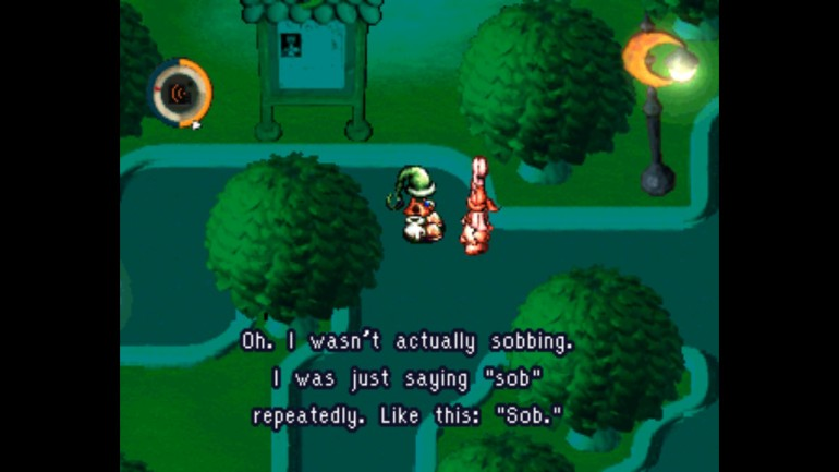 The player character in moon encountering a drunken baker.