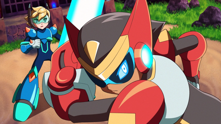 A still from the animated trailer to 30XX, with Ace brandishing a beam-sword in the foreground for defend Nina, who looks on from the background. The stones and gravel and grass of the Burning Temple surround them, with a single lantern glowing eerie blue.