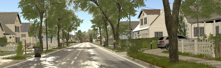 A street in Our America, lined with trees and SUV, white picket fences and single family homes.