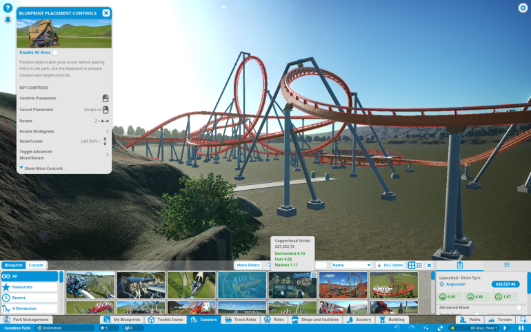 A brand new park in Planet Coaster, with people waiting to ride a yet-to-be-built, still semitransparent roller coaster. Most of the scene is unspoiled empty land, for now. In the upper-right, and in the lower part of the screen, are Anisa's menus, showing costs and benefits for the different kinds of coasters that the player can build.