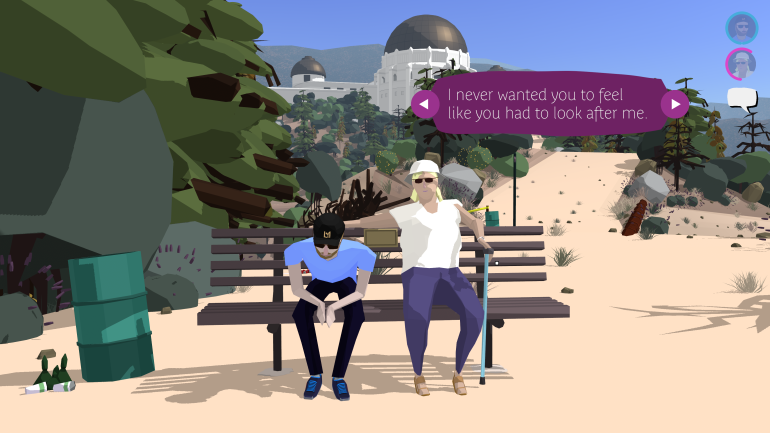 Russell and Linda, sitting on a bench with the Griffith Park Observatory in the background. Linda's dialogue box is purple, indicating a choice. The current option is: 'I never wanted you to feel like you had to look after me.'